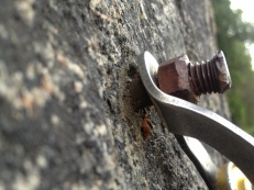 """BAD: rusted 3/8"""" wedge bolt with loose SMC hanger"""