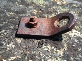 """BAD: Rusted 1/4"""" threaded bolt with homemade hanger"""